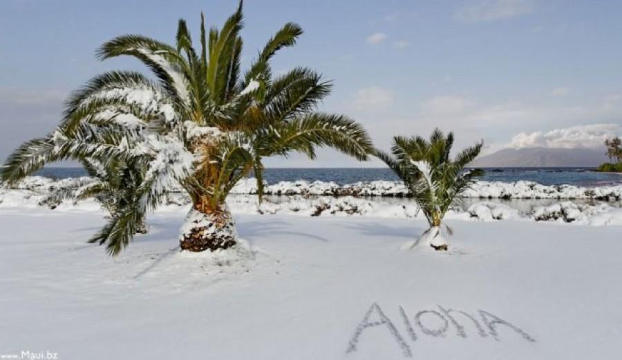 Megdöbbentő időjárás! Szakad a hó Hawaii egyik szigetén!