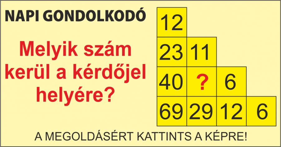 NAPI GONDOLKODÓ 27. megoldás